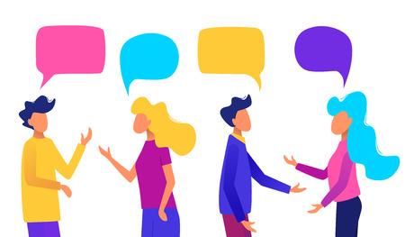 Personas con burbujas de discurso. Gente charlando. Ilustración de vector de concepto de comunicación.