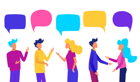 People with speech bubbles. People chatting. Communication concept vector illustration.