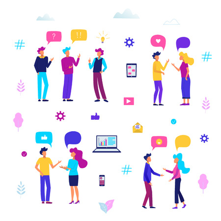 People with speech bubbles. People chatting. Communication concept vector illustration.Business people group.
