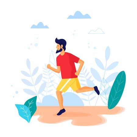 Running man vector trendy illustration.