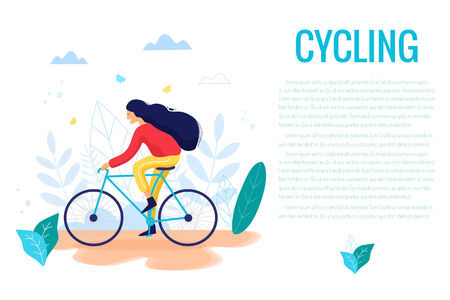 Woman riding a bicycle in park trendy vector illustration. Ilustrace