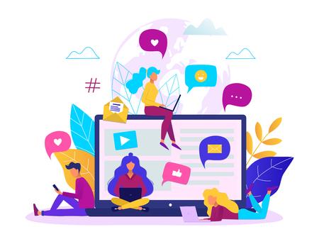 Communication via internet concept. Social networking, chatting vector illustration.