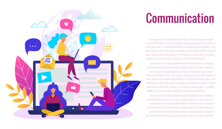 Communication via internet concept. Social networking, chatting vector illustration.