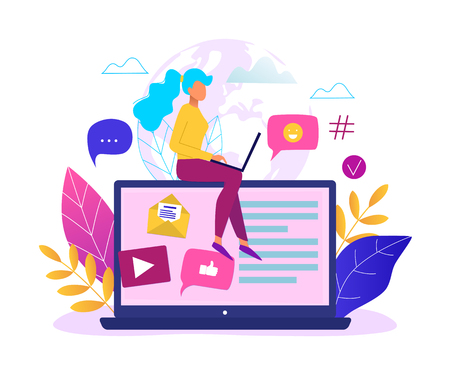 Social network, web site surfing concept vector illustration. Woman using a laptop.