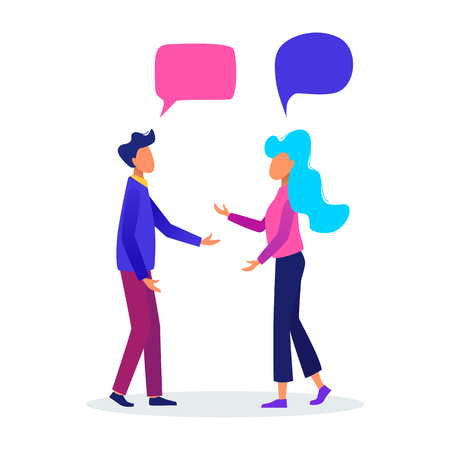 Man and woman with speech bubbles. People chatting. Communication concept vector illustration.