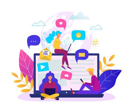 Communication via internet concept. Social networking, chatting vector illustration