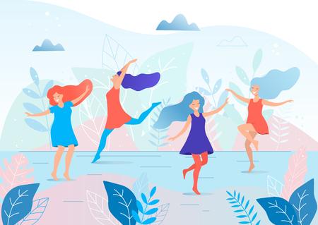 Happy dancing women vector illustration.