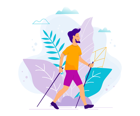 Nordic walking vector illustration.