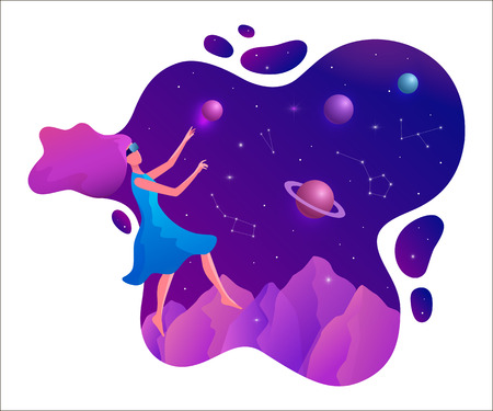 Woman experiencing virtual reality wearing vr goggles vector illustration. Floating girl in space. Illustration
