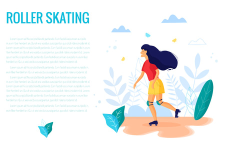 Woman on roller skate in park vector illustration.