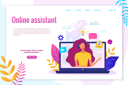 Customer service, hotline operator for web page, banner, presentation, social media concept. Иллюстрация
