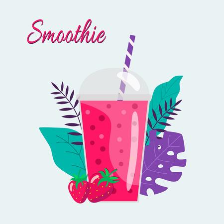 Cartoon smoothies. Strawberry smoothie. Organic fruit shake smoothie. Flat design. Vector illustration. Ilustrace