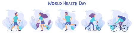 World health day vector illustration. Healthy lifestyle concept. Different physical activities