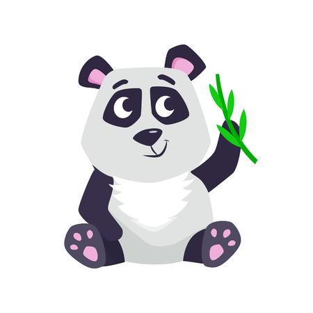 Cute cartoon panda vector illustration.