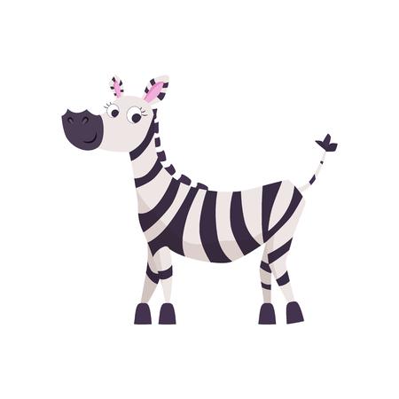 Cute cartoon zebra vector illustration.
