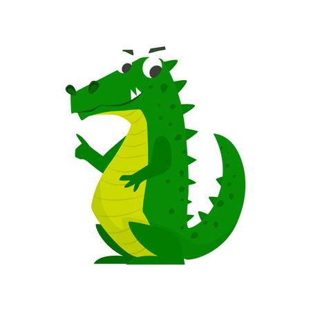 Cute cartoon crocodile vector illustration.
