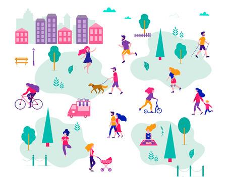 Verschillende activiteiten van mensen in de zomerstad. Mensen in het park. Platte vectorillustratie.