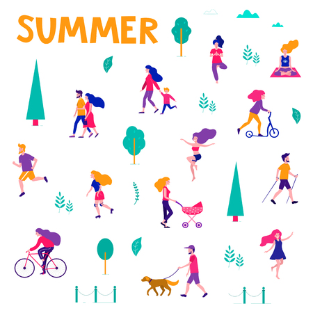 Different activities of people in the summer city. People in the park. Vector flat illustration.