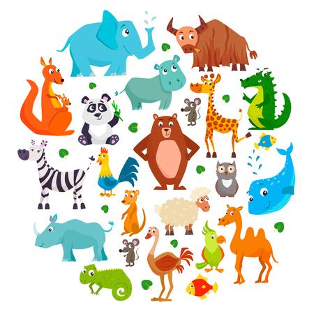 Set di simpatici animali del fumetto. Illustrazione vettoriale. Vettoriali