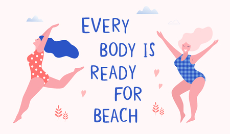 Happy beautiful active plus size girls vector flat illustration. Body positive concept. Every body is ready for beach