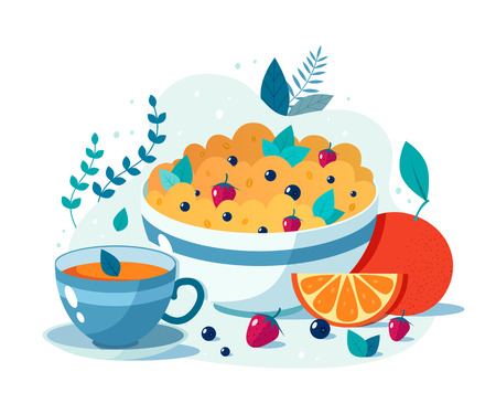 Bowl of oatmeal with strawberries and blueberries cup of green tea. Vector flat illustration of healthy breakfast. 일러스트