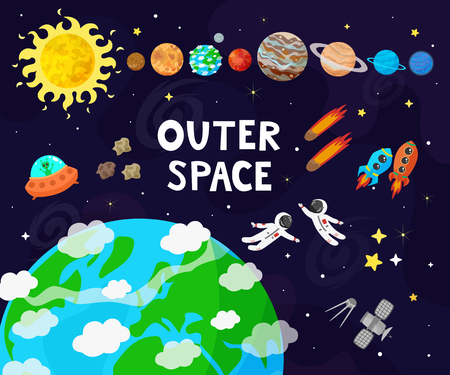 Vector illustration of space, universe. Cute cartoon planets, asteroids, comet, rockets.