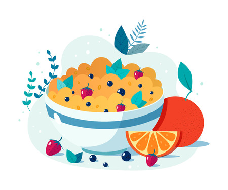 Bowl of oatmeal with strawberries and blueberries. Vector flat illustration of healthy breakfast.