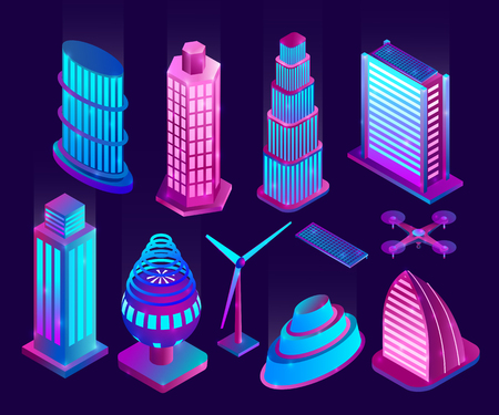 Illuminated neon skyscrapers and objects of modern city. Vector illustration.