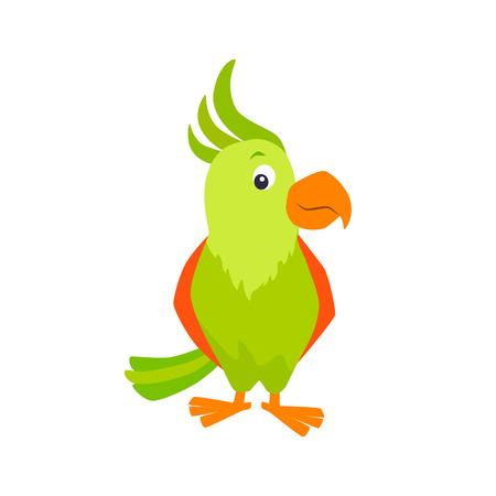 Cartoon parrot vector illustration.