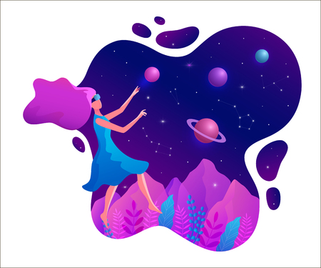 Woman experiencing virtual reality wearing vr goggles vector illustration. Floating girl in space.
