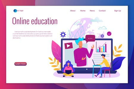 Concept of online education modern vector illustration. Easy to edit . Landing page template.  イラスト・ベクター素材