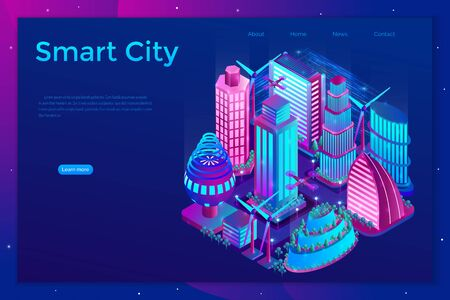 Smart night city is illuminated by neon lights in isometric style. Landing page template Vector illustration. Çizim