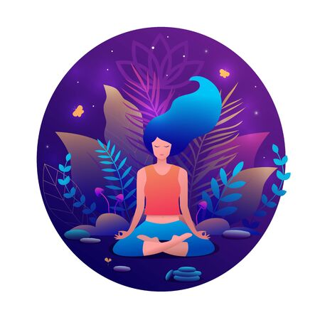 Woman sitting in lotus position practicing meditation. Illustration