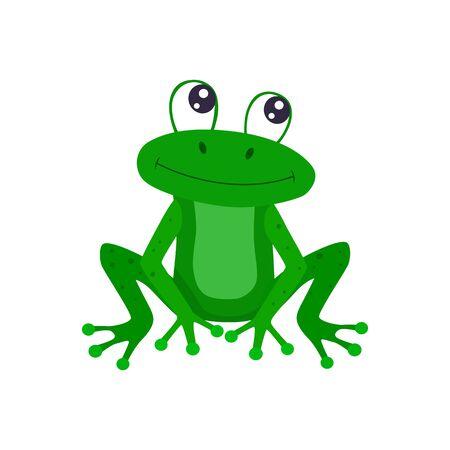 Cute cartoon frog vector flat illustration.