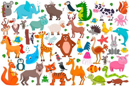 Set of cute cartoon animals. Vector illustration. Çizim