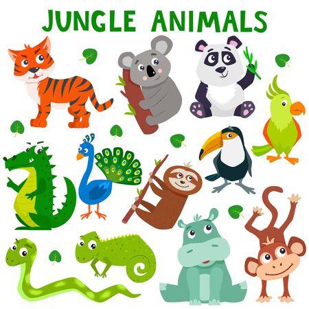 만화 귀여운 정글 동물의 집합입니다. 벡터 평면 그림입니다.