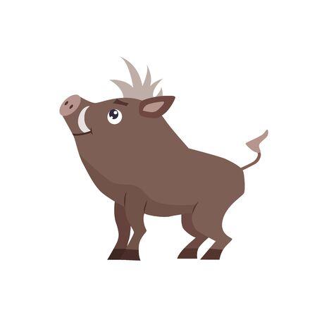 Cute cartoon boar vector illustration. Çizim