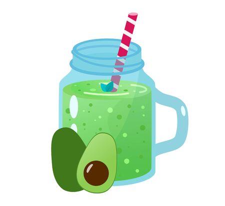 Cartoon smoothies. Avocado smoothie. Organic fruit shake smoothie.