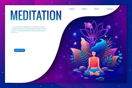 Woman sitting in lotus position practicing meditation. Yoga girl vector trendy illustration. Landing page template. Çizim