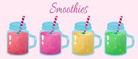 Cartoon smoothies. Organic fruit shake smoothie.