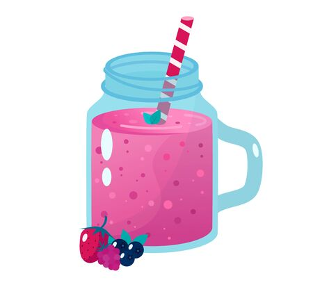 Cartoon smoothies.Berry smoothie. Organic fruit shake smoothie.