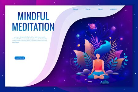 Woman sitting in lotus position practicing meditation. Yoga girl vector illustration. Landing page template.