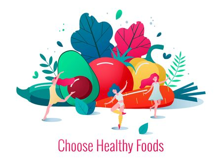 Concept of healthy lifestyle vector illustration. Healthy happy women dancing in front of vegetables and fruits.