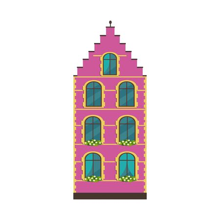 European colorful old house vector flat illustration.