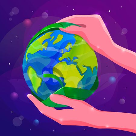 Save the Planet Earth concept vector illustration. Human hands cover the Planet with green leaf.