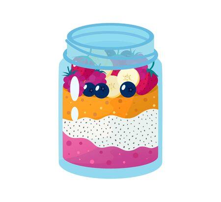 Chia seed mango strawberry pudding vector illustration.