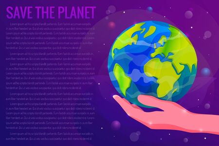 Save the Planet Earth concept vector illustration. Planet Earth on a human hand