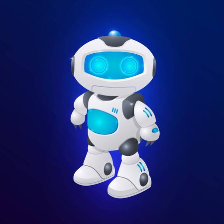 Modern robot character vector illustration. Future technologies, artifical intelligence. Ilustração