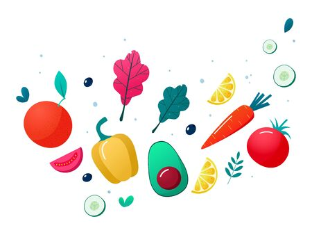 Concept of healthy eating, lifestyle vector illustration. Fruits and vegetables.