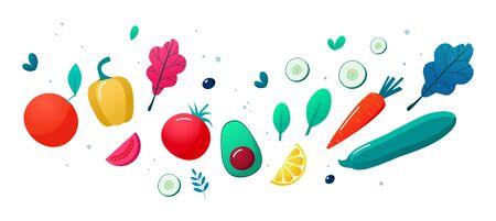 Concept of healthy eating, lifestyle vector illustration. Fruits and vegetables. Ilustração